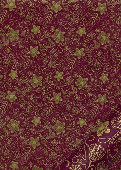 Papier lokta arabesques florales or fond bordeaux (50x75)