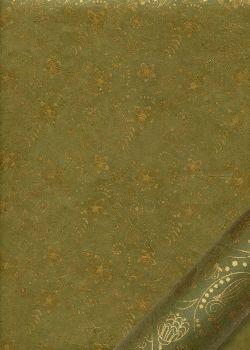 Papier lokta arabesques florales or fond vert (50x75)