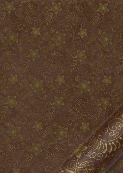 Papier lokta arabesques florales or fond brun (50x75)