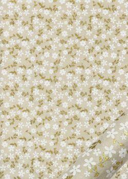 Papier lokta semis de fleurs blanches et or fond naturel (50x75)