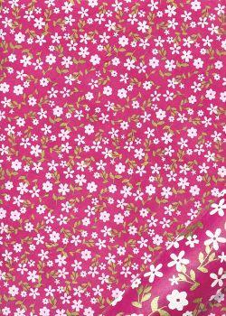 Papier lokta semis de fleurs blanches et or fond fuschia (50x75)