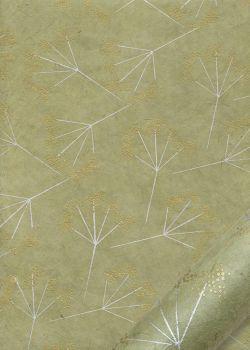 Papier lokta floral or et argent fond vert tilleul (50x75)