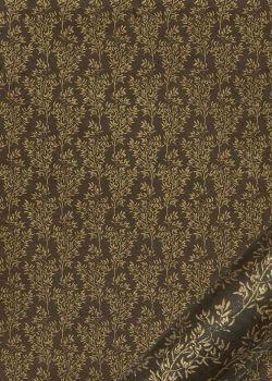 Papier lokta rameaux d'olivier or fond chocolat (50x75)