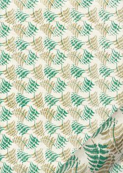 Papier lokta semis de fougères vertes et or (50x75)
