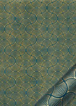 Papier lokta coquilles or fond bleu canard (50x75)