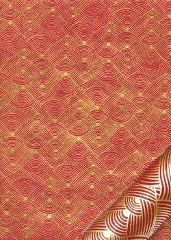 Papier lokta entrelacs or fond rouge (50x75)