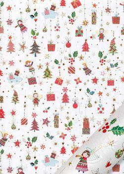 Papier Turnowsky guirlandes de cadeaux et anges réhaussé or (50x70)