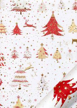 Papier Turnowsky les sapins et les rennes réhaussé or (50x70)