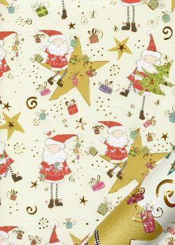 Papier Turnowsky le père Noël dans les étoiles réhaussé or (50x70)