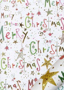 Papier Turnowsky Merry christmas coloré réhaussé or (50x70)