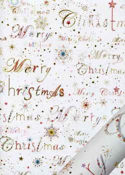 Papier Turnowsky Merry christmas rouge réhaussé or (50x70)