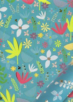 Papier Turnowsky feuillage stylisé fond turquoise réhaussé or (50x70)