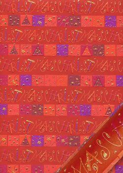 Papier Turnowsky frises chrismas fond rouge réhaussé or (50x70)