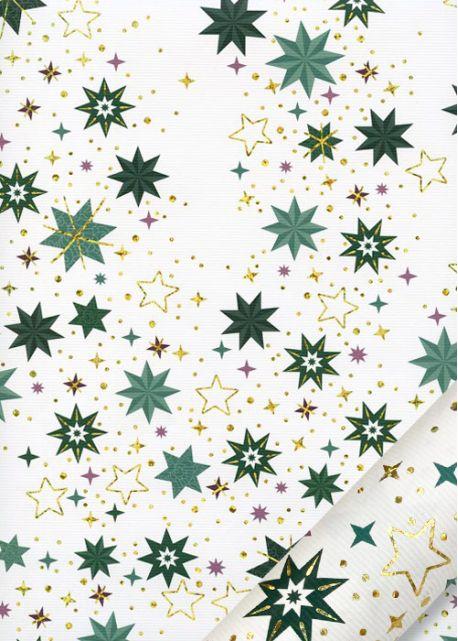 Les étoiles vertes et or sur fond strié blanc (68,5x98)