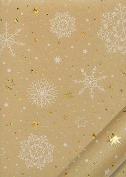 Les étoiles et flocons fond kraft (68x98)