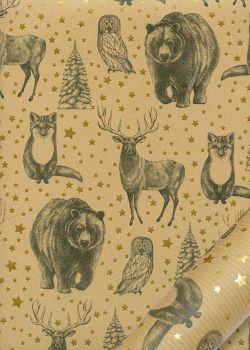 Les animaux de Noël fond strié kraft (68x98)