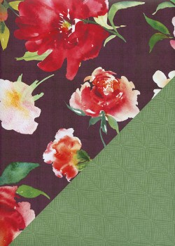 """Recto verso """"Floral coloré / géométrique vert"""" (48x68)"""