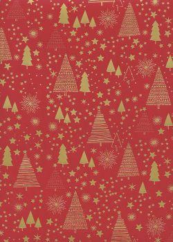 Sapins et étoiles or sur fond rouge (68x98)