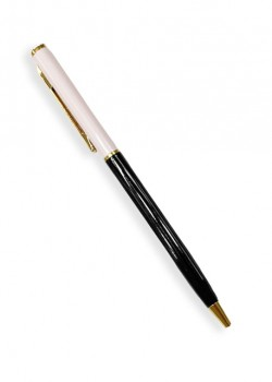 Stylo bille rechargeable bicolore 2 tons rose/noir (130mm) + strass