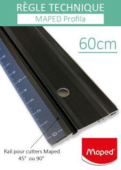 """Règle de coupe """"Profila 60cm"""" en alu et bord acier+antidérapante Maped"""