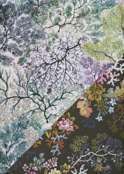 """Recto verso """"Arbres colorés / floral fond noir"""" (50x70)"""