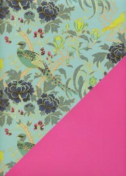 """Recto verso """"Tapisserie et oiseaux fond menthe / uni rose"""" (50x70)"""
