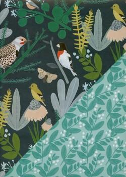 """Recto verso """"Les oiseaux d'hiver / feuillage d'hiver"""" (50x70)"""