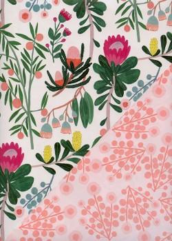 """Recto verso """"Fleurs stylisées / floral saumon"""" (50x70)"""
