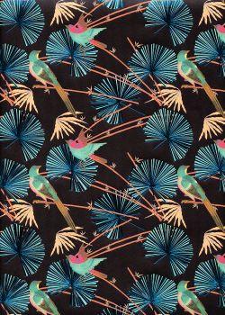 Feuilles de palmier métallisées bleu et oiseaux fond noir (50x70)