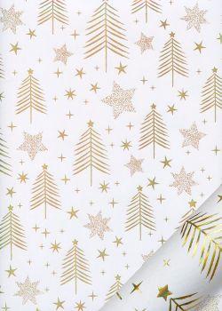 Etoiles et sapins or fond blanc (68,5x98)