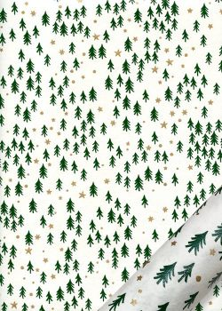 Les sapins verts fond blanc réhaussé or (50x70)