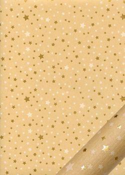 Pluie d'étoiles blanches et or fond kraft (48x68)