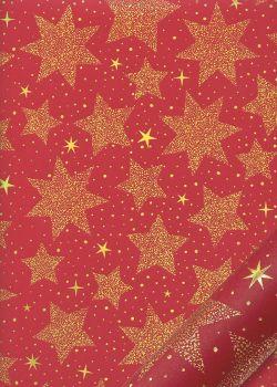 Les étoiles or sur fond rouge (68x98)