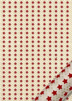 Papier lokta les étoiles rouges et pois or sur fond naturel (50x75)