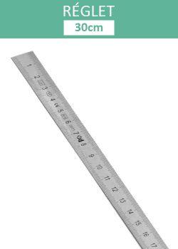 Réglet en acier inoxydable 30cm (larg.1.3cm)