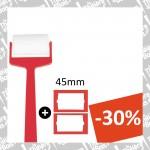 Rouleau en mousse extra avec manche + 2 recharges (Ø45mm) (-30%)